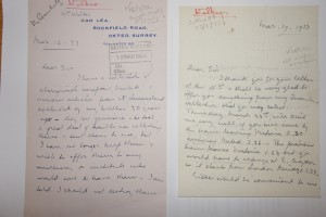 Figure 4: Letter by Derwent Vallance's sister, Florence Mary Walker to the British Museum, 12 March 1933.
